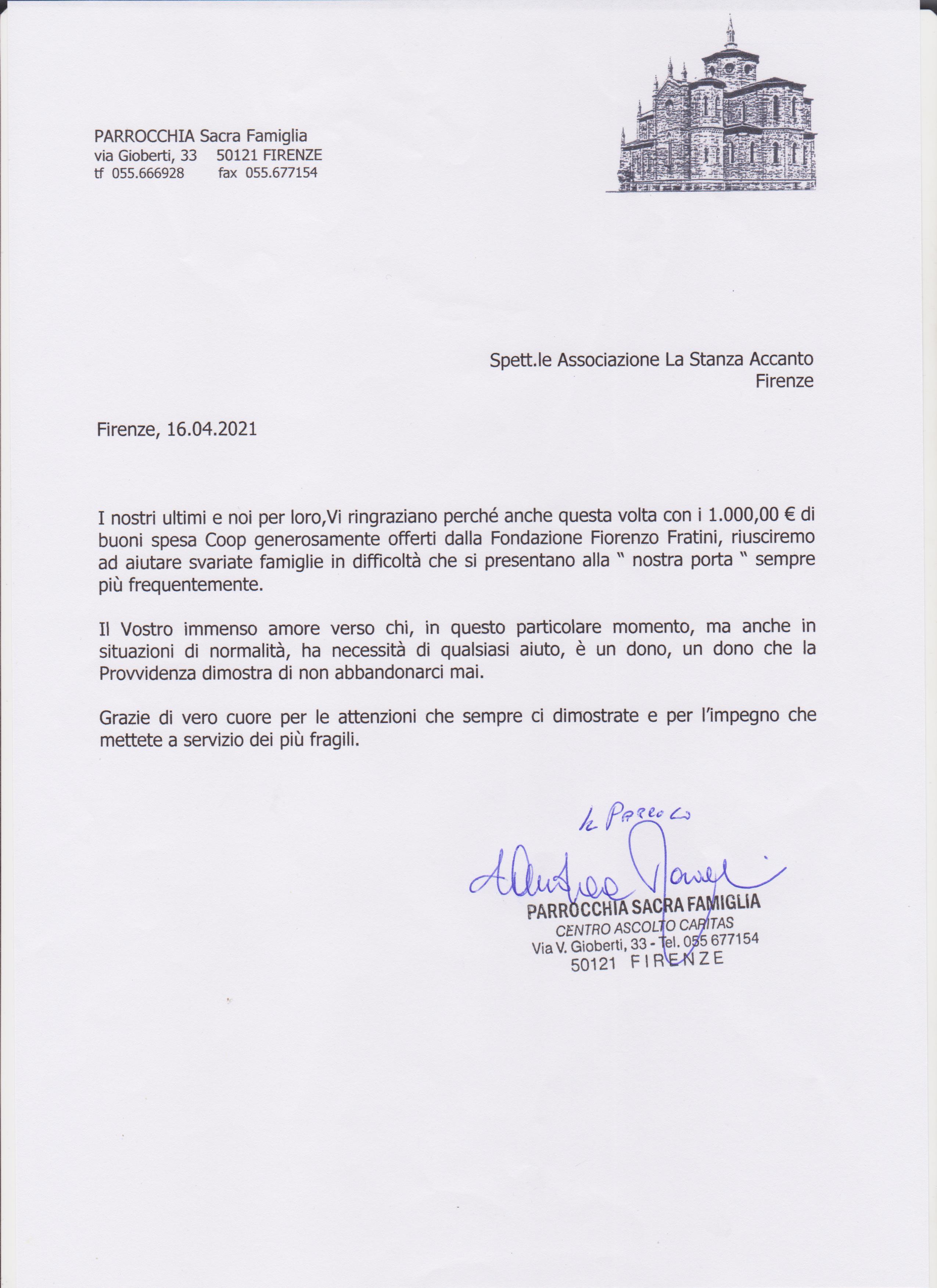 Lettera Ringraziamento Caritas Parrocchia Sacra Famiglia per Buoni Spesa La Stanza Accanto